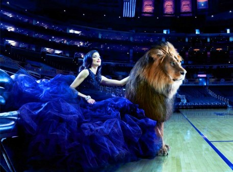 Nice woman and lion
